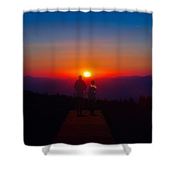Into The Sunset Together Shower Curtain by John Haldane