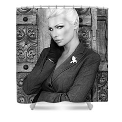 Intrigue Bw Fashion Shower Curtain by William Dey