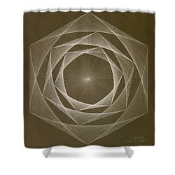 Inverted Energy Spiral Shower Curtain by Jason Padgett