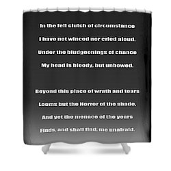 Invictus By William Ernest Henley Shower Curtain by Daniel Hagerman
