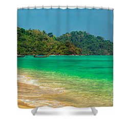 Island Longboats Shower Curtain by Adrian Evans