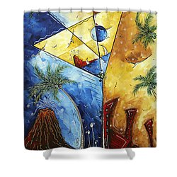 Island Martini  Original Madart Painting Shower Curtain by Megan Duncanson