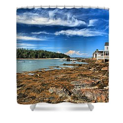 Isle Au Haut House Shower Curtain by Adam Jewell