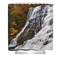 Ithaca Falls In Autumn Shower Curtain by Michele Steffey
