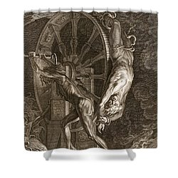 Ixion In Tartarus On The Wheel, 1731 Shower Curtain by Bernard Picart