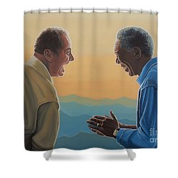 Jack Nicholson And Morgan Freeman Shower Curtain by Paul Meijering