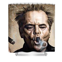 Jack Nicholson Shower Curtain by Andrzej Szczerski