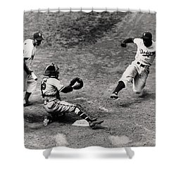 Jackie Robinson In Action Shower Curtain by Gianfranco Weiss