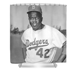 Jackie Robinson Poster Shower Curtain by Gianfranco Weiss