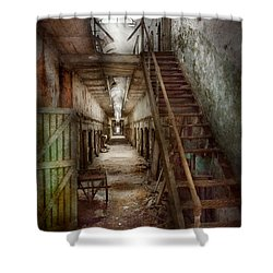 Jail - Eastern State Penitentiary - Down A Lonely Corridor Shower Curtain by Mike Savad