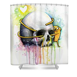 Jake The Dog Hugging Skull Adventure Time Art Shower Curtain by Olga Shvartsur