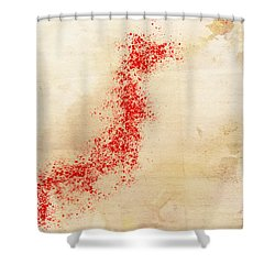 Japan Watercolor Map Shower Curtain by Daniel Hagerman