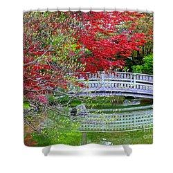 Japanese Garden Bridge In Springtime Shower Curtain by Carol Groenen