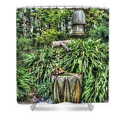 Japanese Garden Fountain Shower Curtain by Heidi Smith
