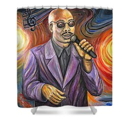 Jazz Singer Shower Curtain by Linda Mears
