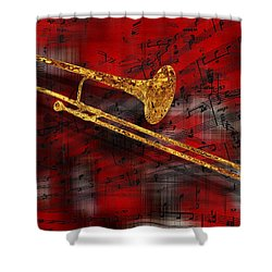 Jazz Trombone Shower Curtain by Jack Zulli