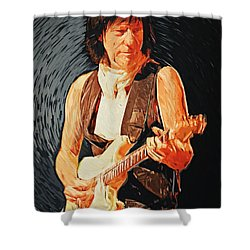 Jeff Beck Shower Curtain by Taylan Apukovska