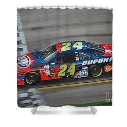 Jeff Gordon Dupont Chevrolet Shower Curtain by Paul Kuras