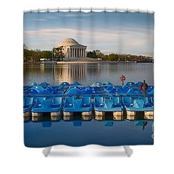 Jefferson Memorial And Paddle Boats Shower Curtain by Jerry Fornarotto