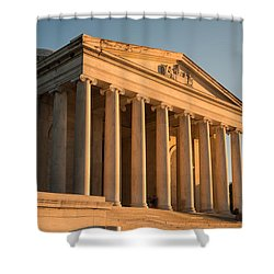 Jefferson Memorial Sunset Shower Curtain by Steve Gadomski