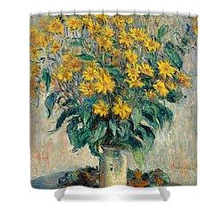 Jerusalem Artichoke Flowers Shower Curtain by Claude Monet