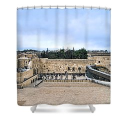 Jerusalem The Western Wall Shower Curtain by Ron Shoshani