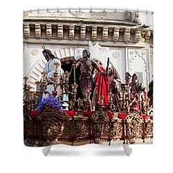 Jesus Christ And Roman Soldiers On Procession Shower Curtain by Artur Bogacki