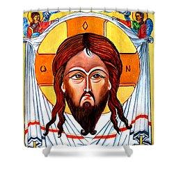 Jesus Christ Mandylion Icon Shower Curtain by Ryszard Sleczka