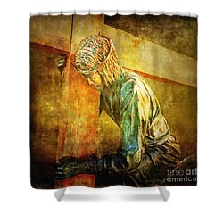Jesus Falls Via Dolorosa 3 Shower Curtain by Lianne Schneider