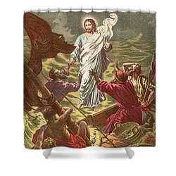 Jesus Walking On The Water Shower Curtain by Anonymous