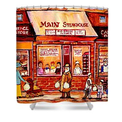 Jewish Montreal Vintage City Scenes Cantor's Bakery Shower Curtain by Carole Spandau