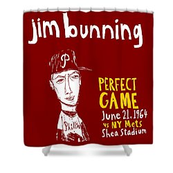 Jim Bunning Philadelphia Phillies Shower Curtain by Jay Perkins