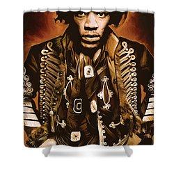 Jimi Hendrix Artwork Shower Curtain by Sheraz A