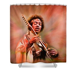 Jimi Hendrix Electrifying Guitar Play Shower Curtain by Angela A Stanton
