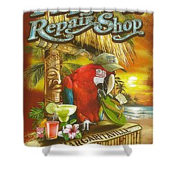 Jimmy Buffett's Flip Flop Repair Shop Shower Curtain by Desiderata Gallery