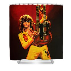 Jimmy Page Painting Shower Curtain by Paul Meijering