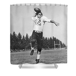Joe Francis Throwing Football Shower Curtain by Underwood Archives