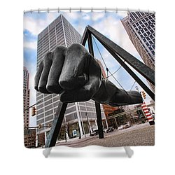 Joe Louis Fist - In Your Face - Version 2 Shower Curtain by Gordon Dean II