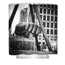 Joe Louis Fist Statue In Monochrome Shower Curtain by Gordon Dean II