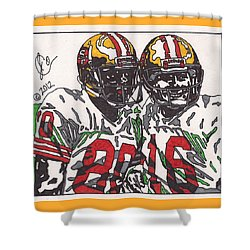Joe Montana And Jerry Rice Shower Curtain by Jeremiah Colley