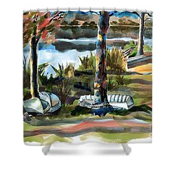 John Boats And Row Boats Shower Curtain by Kip DeVore