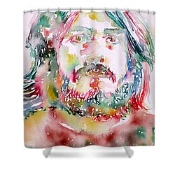 John Bonham Watercolor Portrait Shower Curtain by Fabrizio Cassetta