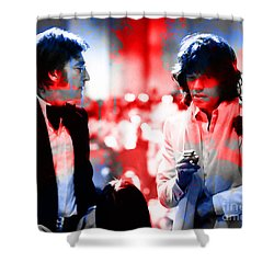 John Lennon And Mick Jagger Painting Shower Curtain by Marvin Blaine