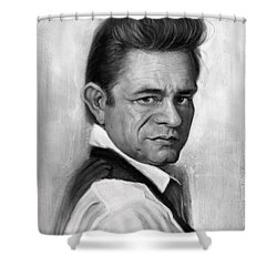 Johnny Cash Shower Curtain by Andre Koekemoer