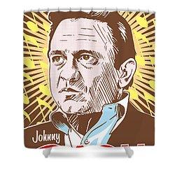 Johnny Cash Pop Art Shower Curtain by Jim Zahniser