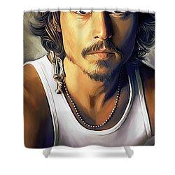 Johnny Depp Artwork Shower Curtain by Sheraz A