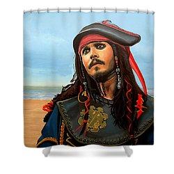 Johnny Depp As Jack Sparrow Shower Curtain by Paul Meijering