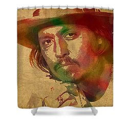 Johnny Depp Watercolor Portrait On Worn Distressed Canvas Shower Curtain by Design Turnpike