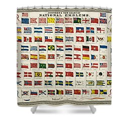 Johnsons New Chart Of National Emblems Shower Curtain by Georgia Fowler