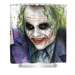 Joker Watercolor Portrait Shower Curtain by Olga Shvartsur